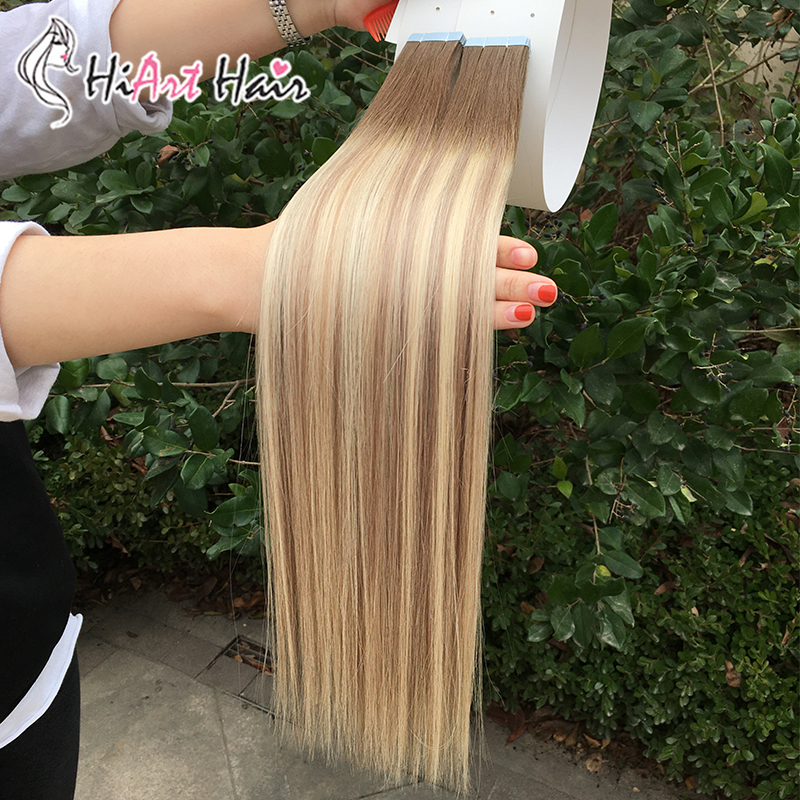 """HiArt 2.5g/pc Tape In Hair Extensions 100% Human Remy Hair Salon Double Drawn Adhesive Extensions Tape Hair Straight 18""""-26"""""""