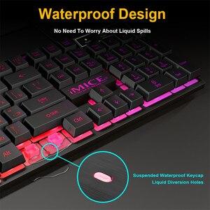 Image 2 - Wired Gaming Keyboard Led Backlit Keyboards 104 Keys Waterproof Keycaps Gamer Keyboards Computer Imitation Mechanical Keyboard