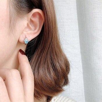 Dog Silver Blue Paw Earrings 2