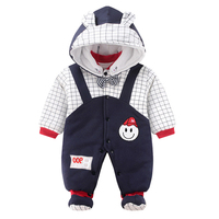 Infants 2019 Winter New Fashion Baby Girl Boy Long Sleeve Cotton Thick Plaid Casual Romper Hooded Newborn Playsuit Baby Clothes