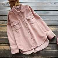 Frühling Taste Unten Shirts ZANZEA Vintage Casual Cord Bluse Frauen Solide Revers Langarm Party Tunika Tops Weibliche Blusas