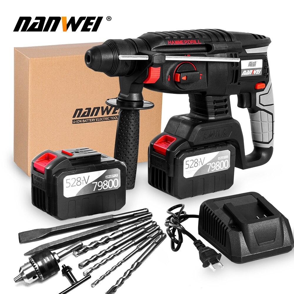 NANWEI 21V MAX Hammer Drill Kit Brushless 3-Speed