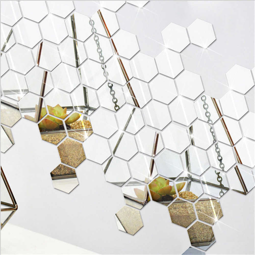 12 Pcs Hexagon Vinyl Home Decor Wall Stickers Decal DIY Removable 3D Mirror CA