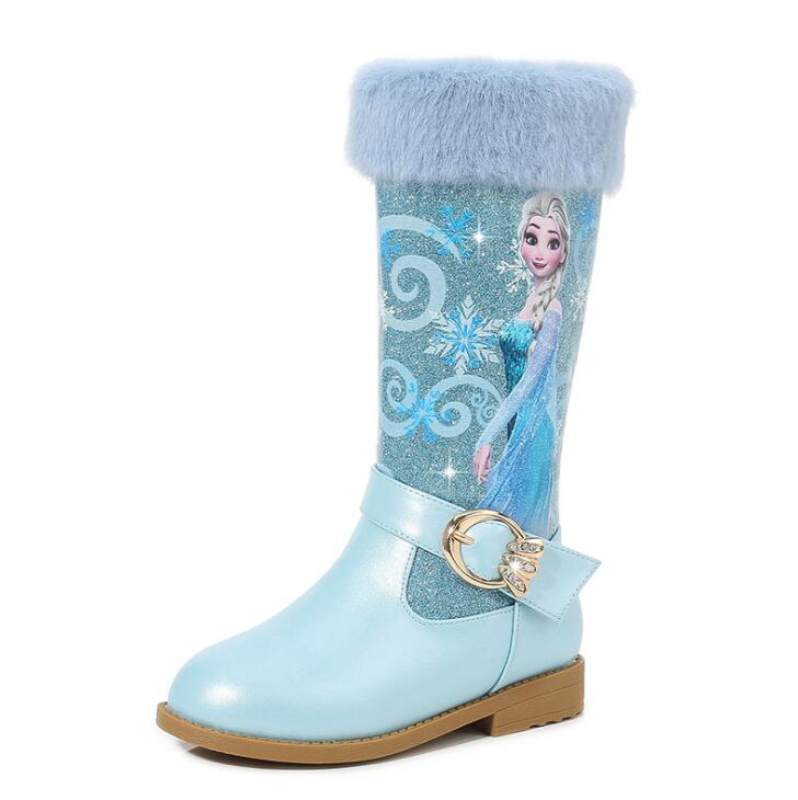 Girls High Boots With Fur 2019 New Winter Children Pu Leather Warm Boots For Baby Girls Pink Blue Elsa Shoes Christmas Gift