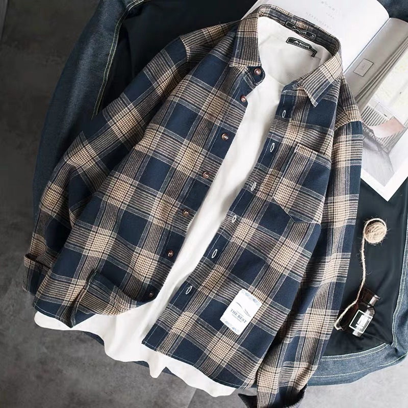 Spring And Autumn 2020 Men's Shirts, Lapels, Long Sleeves Men's Jackets And Checked Shirts