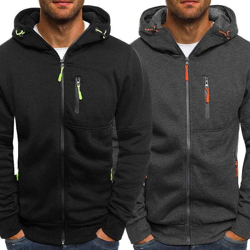 Men's Winter Hoodies Slim Fit Hooded Sweatshirt Outwear Warm Coat Jacket Plain Zip Up Casual Coat Tops Black Gray 2019