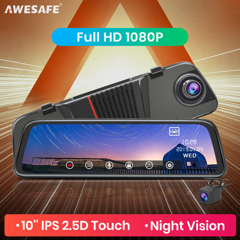 Awesafe Baru FHD 1080P Dash Cam Mobil DVR Streaming Kamera Kaca Spion 10 ''IPS 2.5D Berkendara Video Auto perekam Malam Visi