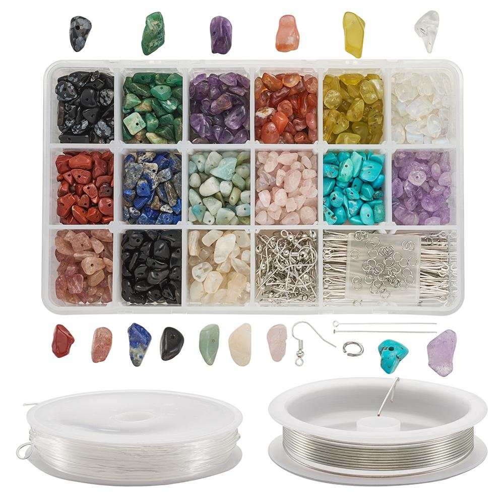 DIY Jewelry Makings Set With 1 Box Natural Stone Beads 4 Rolls Copper Jewelry Wire