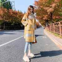Осень Зима плотное Желтое Пальто клетчатое пальто женское длинное корейский стиль 2018 новое пальто в клетку гусиные лапки теплое шерстяное ...