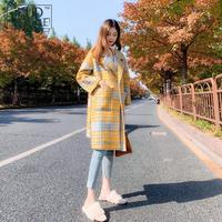 Autumn Winter Thick Yellow Coat Plaid Coat Female Long Korean Style 2018 New Lattice Coat Houndstooth Warm Woolen Ladies Coats