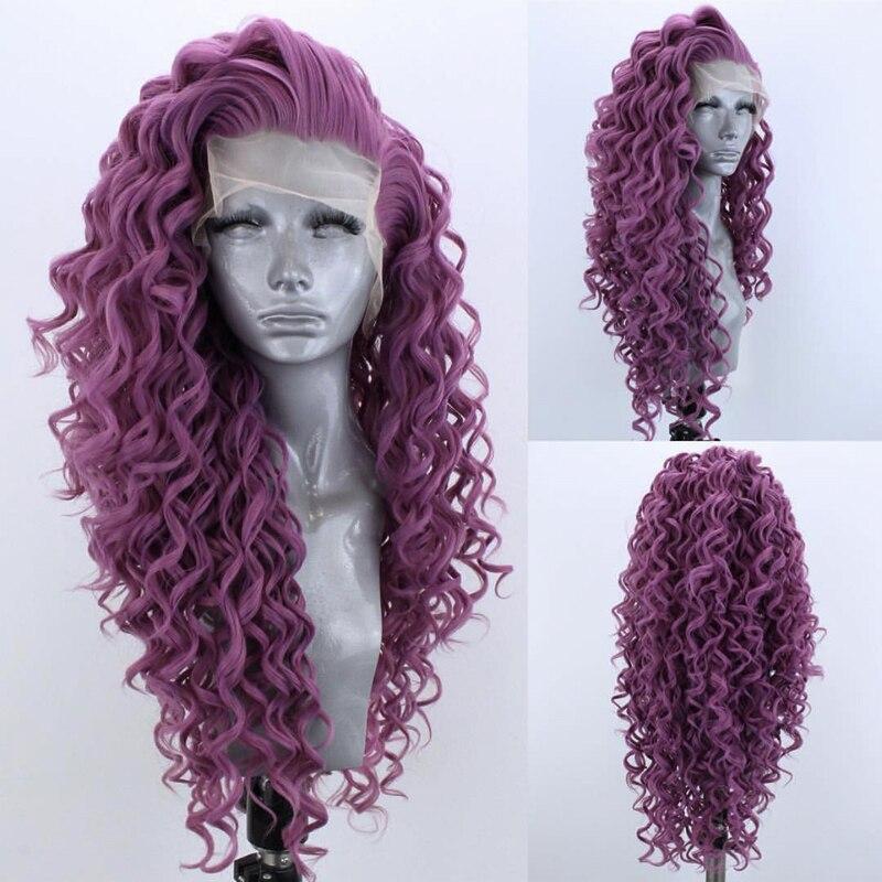 Carisma longo encaracolado perucas peruca dianteira do laço sintético resistente ao calor fibra parte lateral do cabelo perucas para preto peruca cosplay feminino