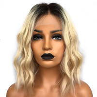 Golden Blonde Ombre Lace Front Wig Bob Natural Wave Wavy 13x6 Malaysian Remy Human Hair Wigs Wob Free Part Two Tone #1B/613