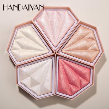 HANDAIYAN Highlighter Palette 5 Colors Full Coverage Concealer Powder Face Contour Shimmer Waterproof Highlight TSLM1