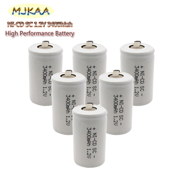 6/8/10pc/lot Ni-cd SC 3400mAh Silver 1.2V 4/5 Rechargeable Battery Flat Top with Tabs For Power Tools image