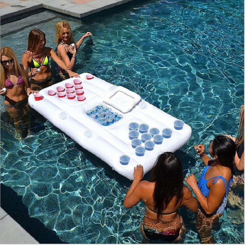 Inflatable Beer Table 28 Cup Hole Floating Mat Table Tennis Recreational Ice Tank