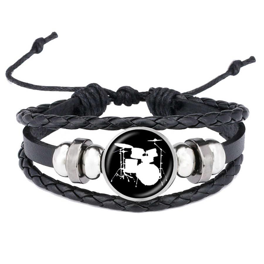 Juego de pulseras con siluetas DJ mezclador de tornero tambor Simple pulsera de cuero con patrón de perfil joyería de batería regalo de los Fans de la música