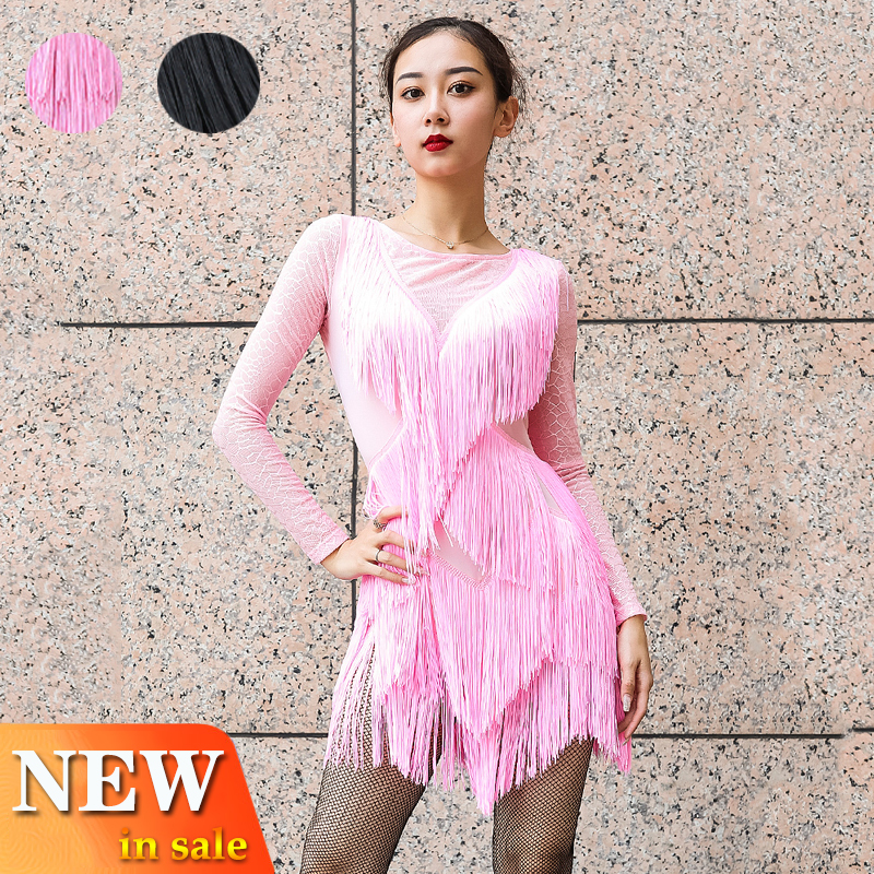 Latin Dance Dress Women Lace Long Sleeve Fringe Dress Competition Dress Performing Outfit Stage Wear Latin Tassel Skirt BL2875