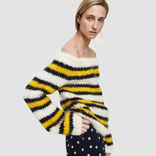 KIYUMI Sweater Women Striped Knitting Sweaters 2019 Autumn New Off Shoulder Long Sleeves Slim Sexy Casual Mohair Yellow Sweaters white knitting roll neck long sleeves sweaters