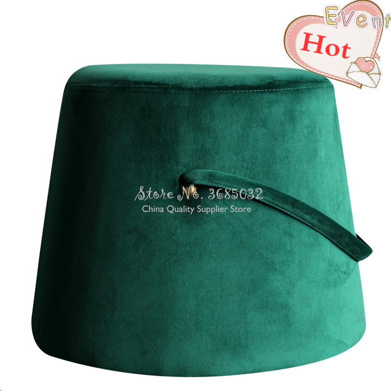 Nordic Thick Sponge Velvet Stools Round Soft Stool Creative Sofa Ottoman Footstool Makeup Stool Shoes Changing Bench With Hanger