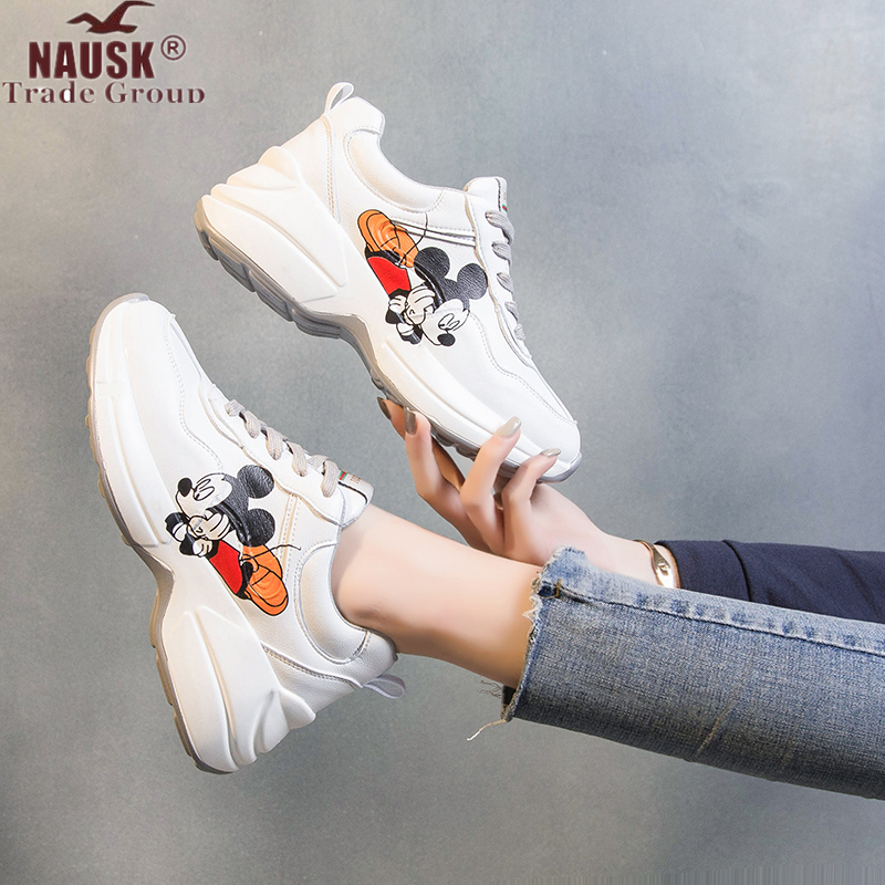 2020 Spring New Women Chunky Sneakers Casual Dad Shoes Thick Sole Platform White Sneakers Tenis Feminino Casual Shoes