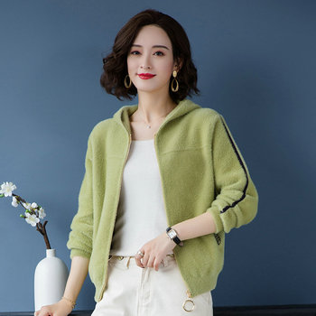 Autumn Woman Imitated Mink Wool Hooded Jackets Green Pink Beige Casual Knitted Coat With Hood Soft Warm Focking Outerwear Women