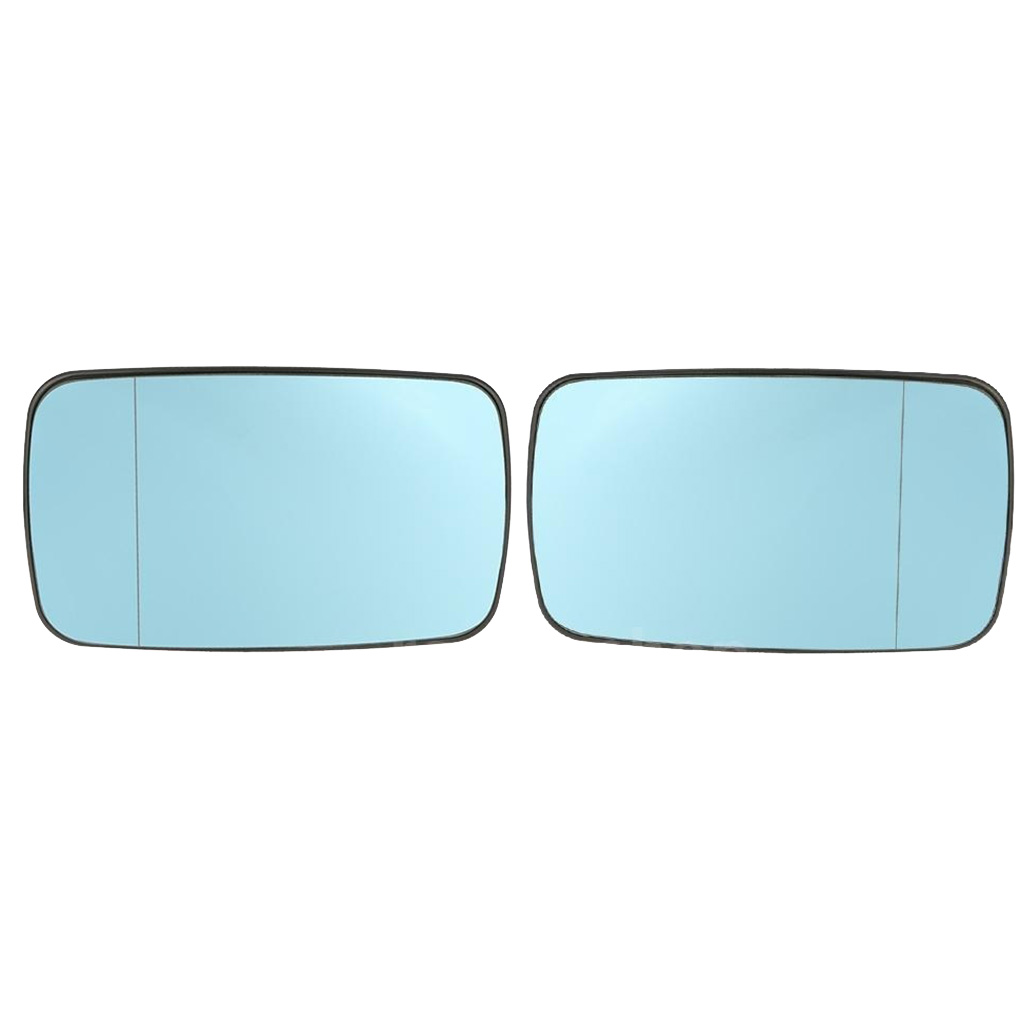 1 Pair Replacement For BMW E46 Blue Left Right Side Car Glass Heated Rearview Mirror Glass 51168250438