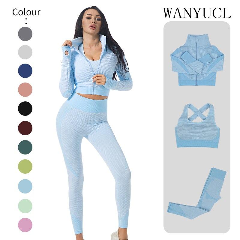 Комплект бесшовный для йоги из 2/3 предметов, одежда для спортзала, фитнеса, Женский костюм для йоги, спортивная одежда, женские леггинсы для ...