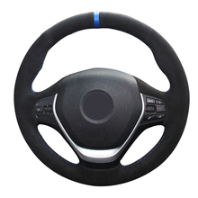 Blue Marker Black Suede Car Steering Wheel Cover for BMW F20 2012-2018 F45 2014-2018 F30 F31 F34 2013-2017 F32 F33 F36 2014 universal replacement carbon fiber mirror cover for bmw rearview door mirror covers x1 f20 f22 f30 gt f34 f32 f33 f36 m2 f87 e84