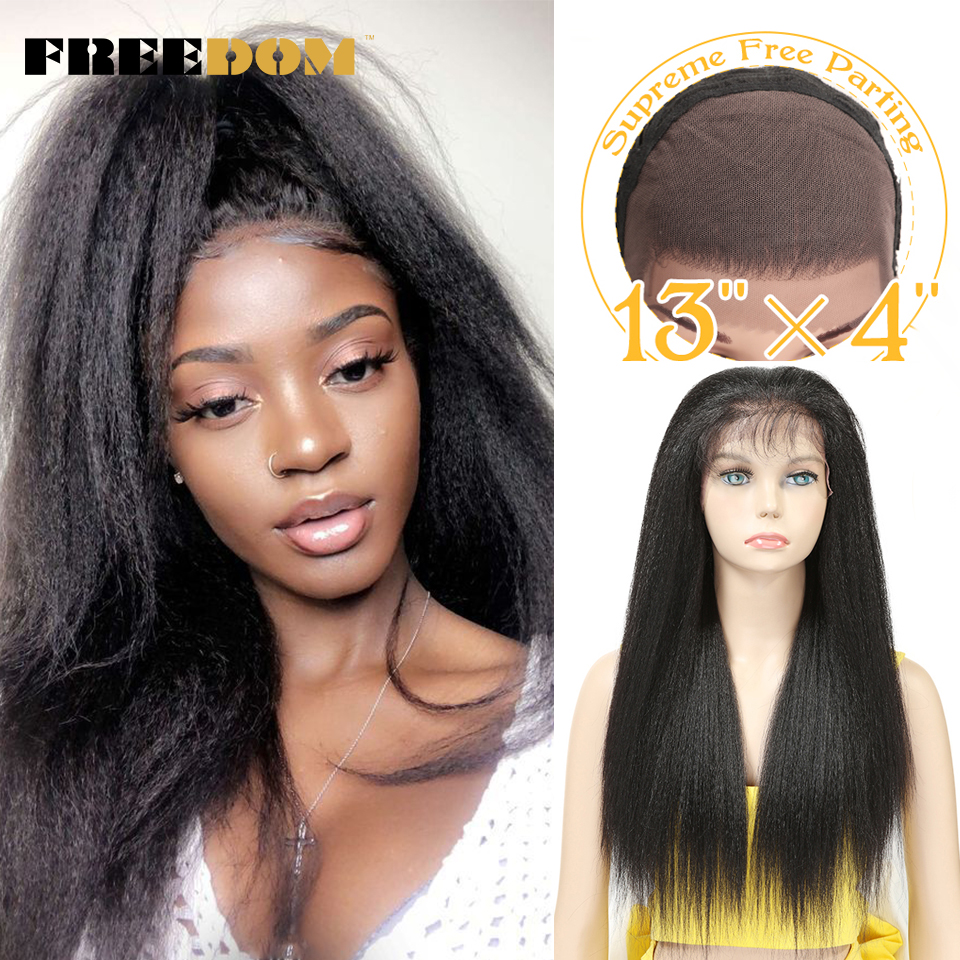 FREEDOM Synthetic Wigs With Baby Hair For Black Women 26 inch Heat Resistant Fiber Long Ombre Brown Yaki Straight Lace Front Wig|wigs free|wigs free shippingwig with baby hair - AliExpress