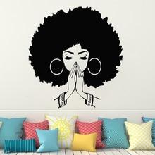 Wall Sticker for Beauty Salon Hairdressing decoration Beautiful African Woman Wall Decal Girl Wall Art Beauty salon decor HQ123 beauty salon wall decal curly hair woman face vinyl wall sticker beauty salon window decor jh41