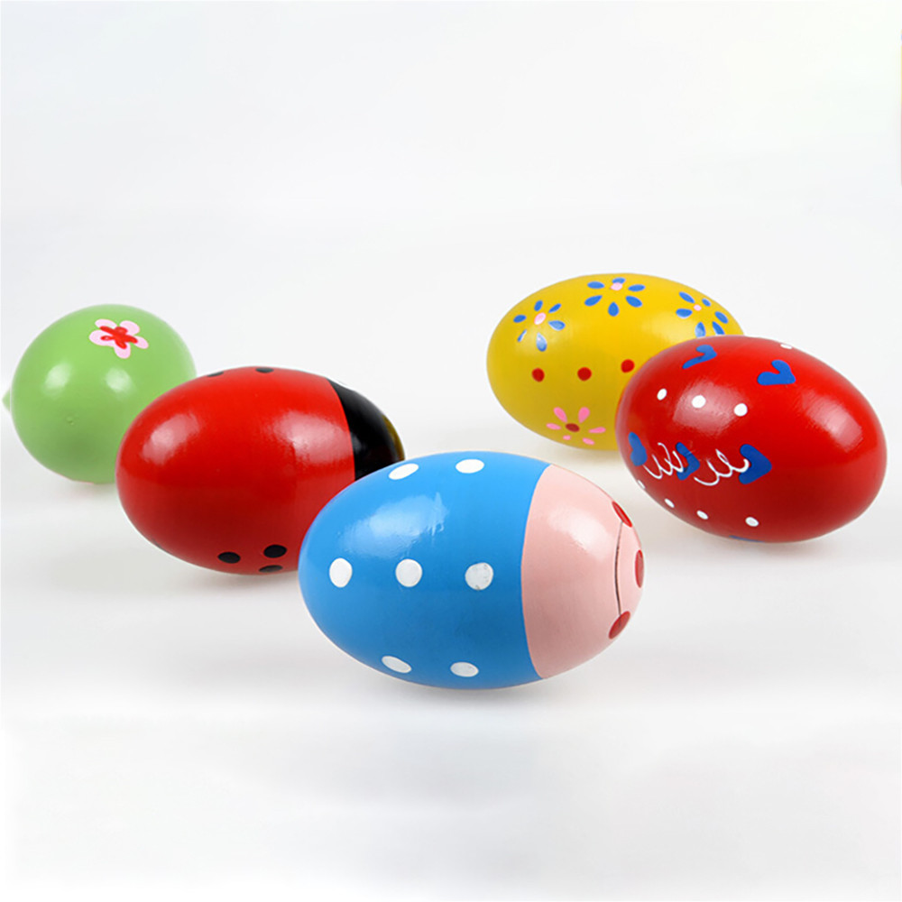 Children's Musical Instrument Cartoon Colorful Egg Sand Ball Children Wooden Sand Eggs Instruments Percussion Musical Toys L0120
