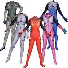 Anime asuka langley soryu mari rei ayanami cosplay traje eva asuka teste macacões zentai terno de halloween bodysuit adultos crianças