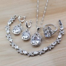 11.11 Low Price Selling Classic Wedding Women Costume 925 Silver White Natural Stone CZ Jewelry Sets Free Gift Bo(China)