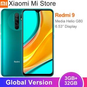 В наличии глобальная версия Xiaomi Redmi 9 смартфон 3 ГБ 32 ГБ Helio G80 Восьмиядерный 13 МП AI Quad Camera 6,53