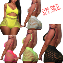 Plus Size Women Hollow mesh sexy female two-piece suit one-piece sling swimsuit swimwear