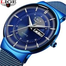 2020 New Blue Quartz Clock LIGE Mens Watches