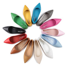 Women Flat Heel Shoes Leather Flats Pointed Toe Shallow Larg