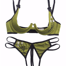 Women Open push Cup Bra Crotchless Panties Ladies Exotic Underwear Lingerie Set Erotic costume