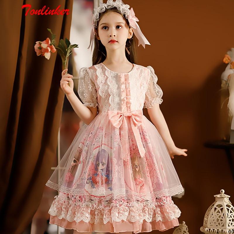 Girls Kawaii Sweet Cute Princess Lolita Dress Kids Summer Vintage  Printed Patterns Lace Pink Blue Skirt Birthday Party Dresses