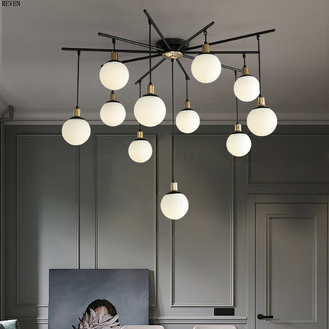 nordic sala levou lustre bola de vidro luzes feijao magico pos moderna lustre minimalista restaurante