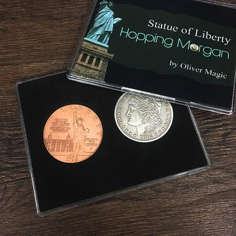 Hopping Morgan (Статуя Свободы) от Оливера Волшебная монета Волшебные трюки прыжки монета Моргана мерцающие иллюзии реквизит карты
