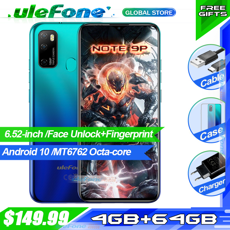 Ulefone Note-9p Smartphone Android 64GB 4gbb Octa Core Face Recognition New Waterdrop-Screen