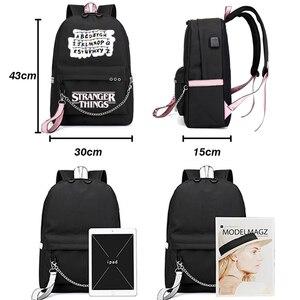 Image 2 - Nouveau étranger choses toile sac à dos USB Charge femmes étudiant sac à dos lettres imprimer sac décole adolescent filles rubans sac à dos