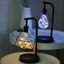 Kreatywne świąteczne wakacje żelazo Retro Art minimalistyczna pusta diamentowa tarcza lampy zasilany z baterii sypialnia lampka do czytania lampka nocna tanie tanio DONWEI Nowoczesne Pokrętło przełącznika Żarówki led Lampy biurkowe Iron table lamp ROHS Metal Szkło Szkło bezbarwne