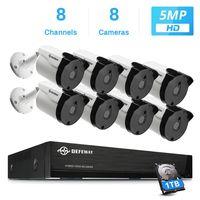 DEFEWAY 8CH 5MP Video Surveillance Security Camera System H.265+ HD CCTV 8PCS Outdoor Waterproof Camera Night Vision 1TB HDD