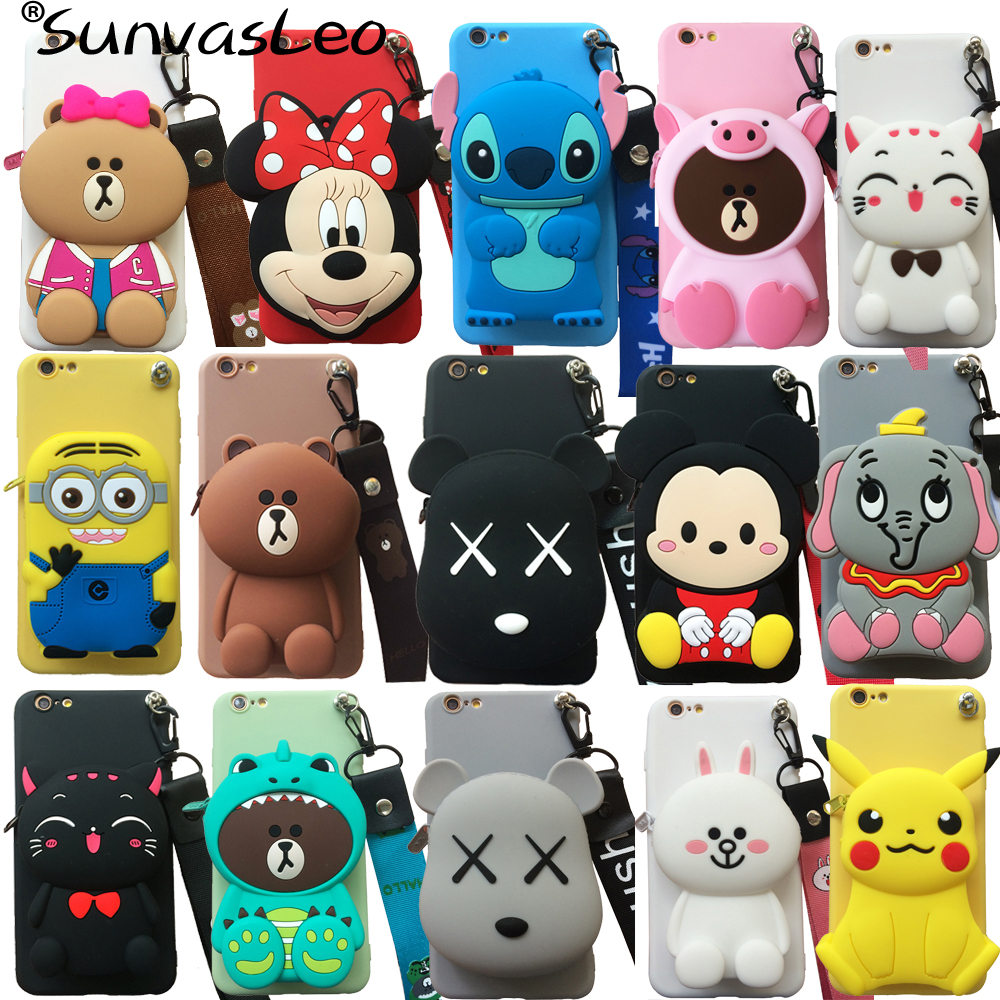 For Huawei P40 P40 Lite P40 Pro 3D Purse Cute Cartoon Animal Soft Silicone Case Cell Phone Cover With Strape Bag Holder Stand