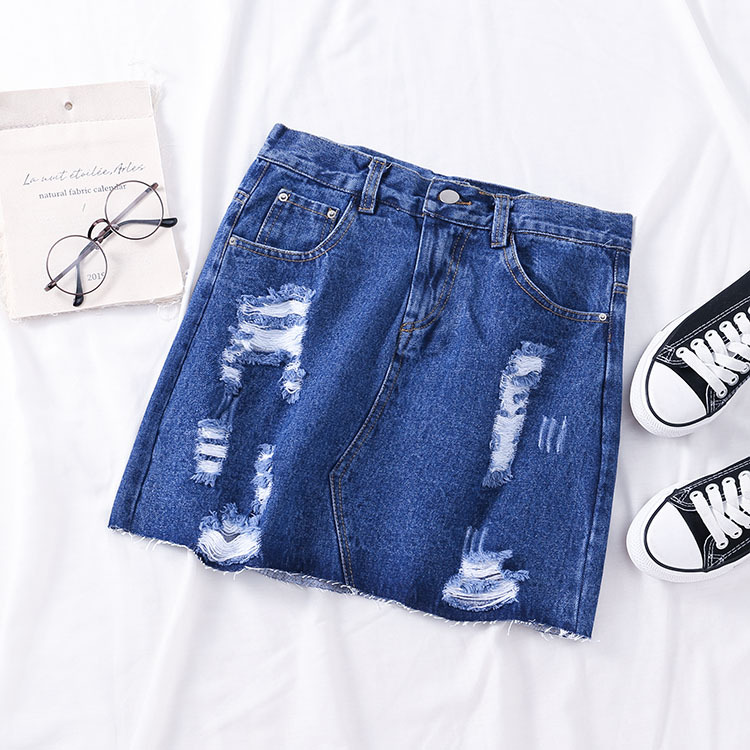 2019 Summer Korean-style WOMEN'S Wear High-waisted Denim Skirt With Holes Skirt Fashion New Style Casual Western Style 6.19