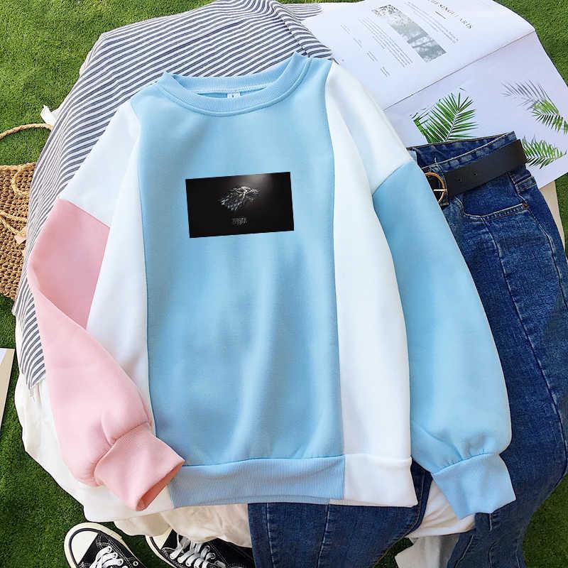Gra o tron bluzy z kapturem Sudadera Mujer jesień zima polar Casual Streetwear kontrast kolor Patchwork O-neck kobiety bluzy