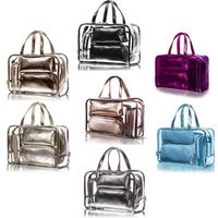 THINKTHENDO 5PCS Clear Makeup Cosmetic Tote Bag Set PVC Pouch Handle Strap Storage Travel Luggage Bags