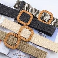 Cinturón trenzado bohemio con Pin de Metal para mujer, cinturón de punto con hebilla redonda cuadrada para mujer, de paja de imitación, cinturón ajustable